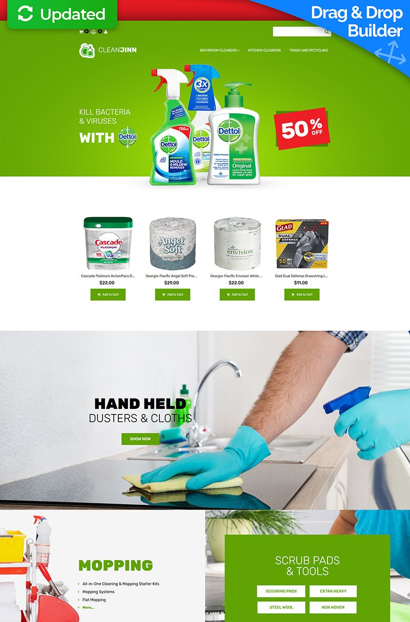 Website Design Template 74597 - supplies janitorial products chemicals housekeeping mopping systems ecommerce store shop online selling service services waste maintenance cleaner washer