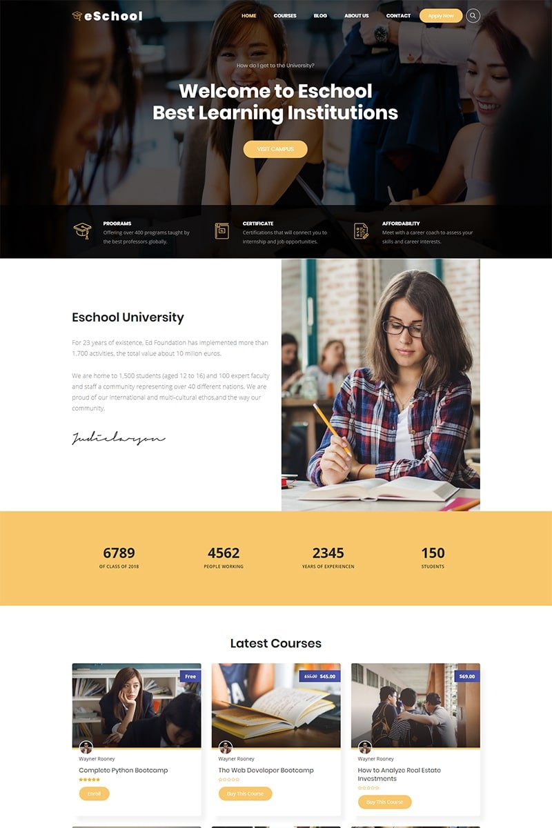 """Eschool - Education, University & School"" Responsive WordPress thema №74533"