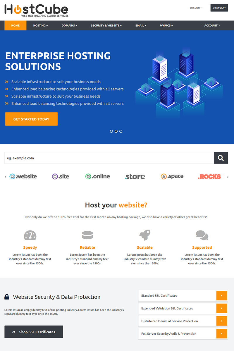 HostCube WHMCS Website Template