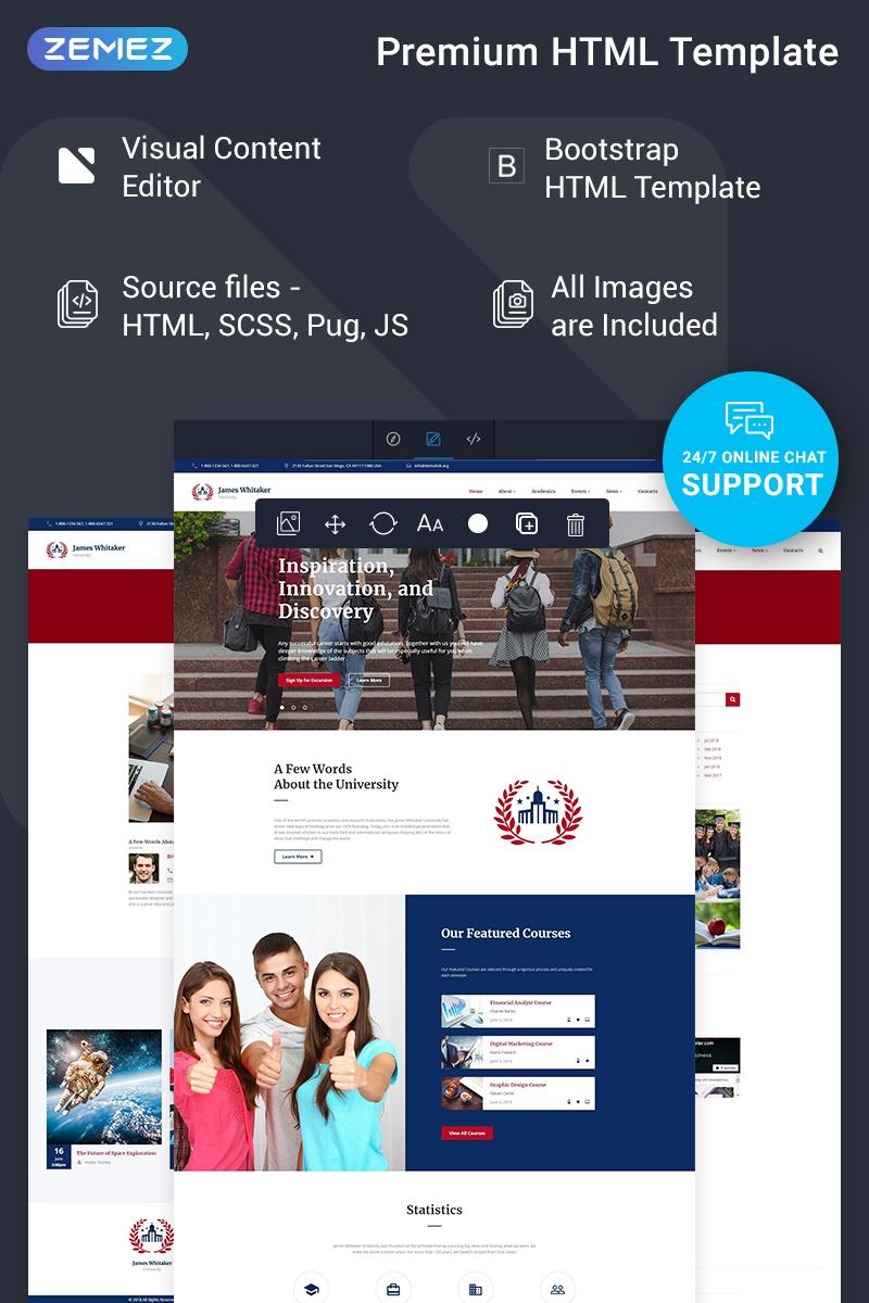 """James Whitaker - University Ready-to-Use"" modèle web adaptatif #74596"