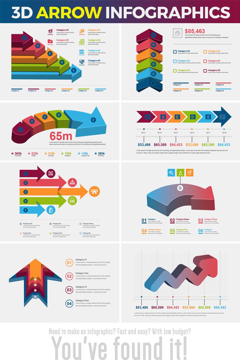 """Luxusní Prvky infografiky """"3D Arrow -"""" #74536"""
