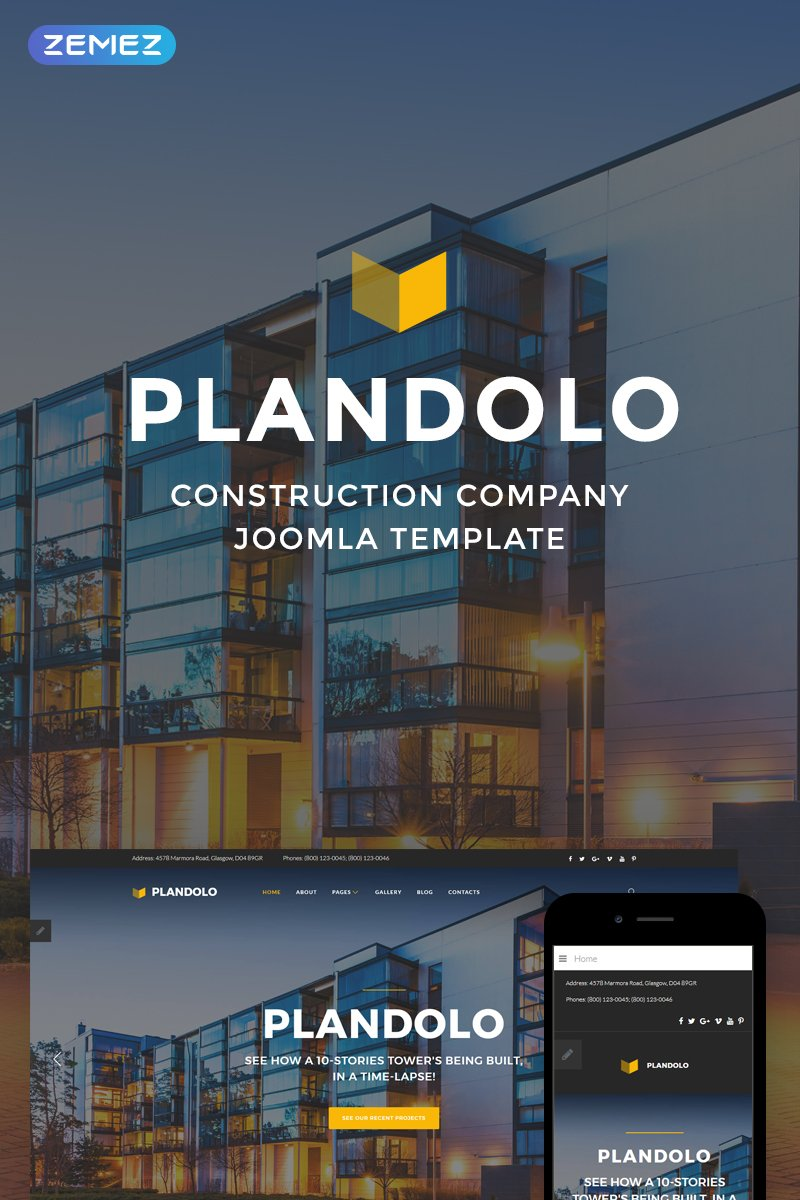 """Plandolo - Construction Company"" - адаптивний Joomla шаблон №74545"