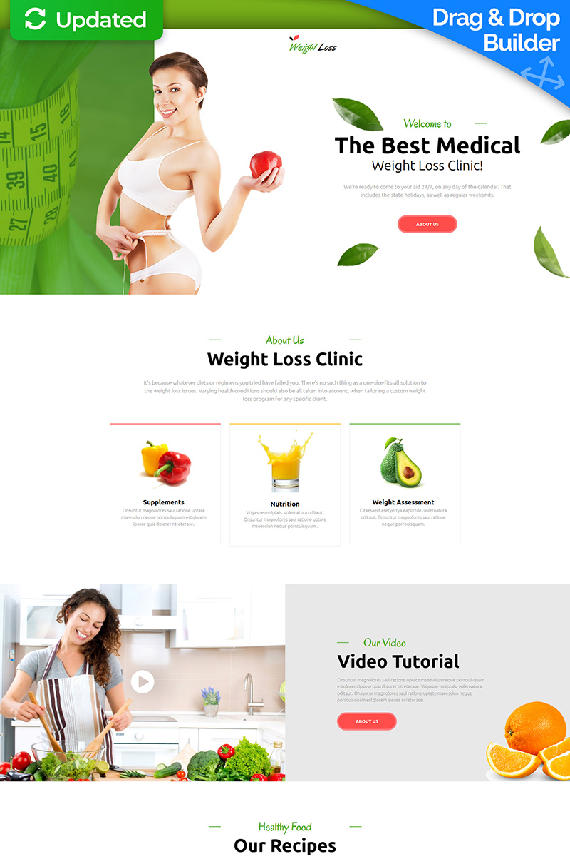 Responsywny szablon Landing Page Weight Loss #74599