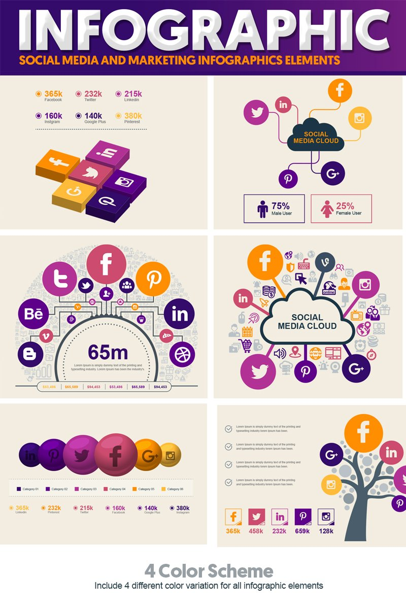 Social Media and Marketing Vector Elements Pack Elementos Infograficos №74547
