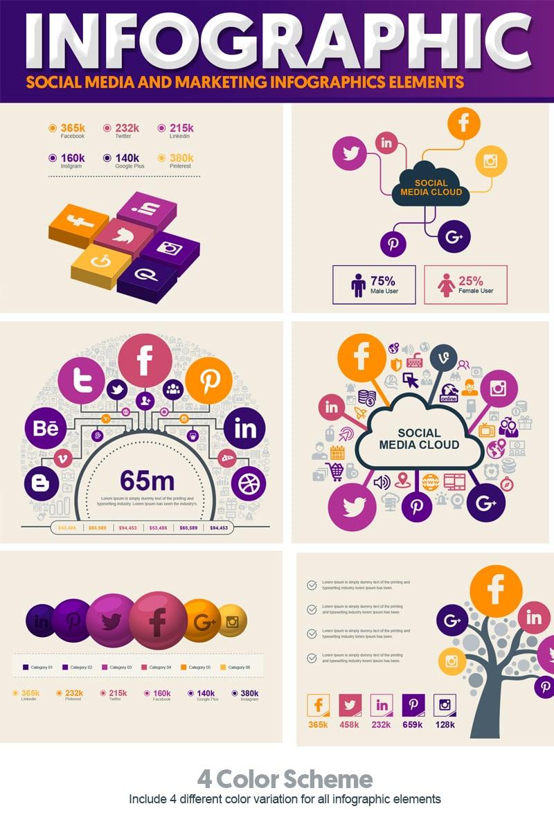 """Social Media and Marketing Vector Elements Pack"" Éléments infographiques  #74547"