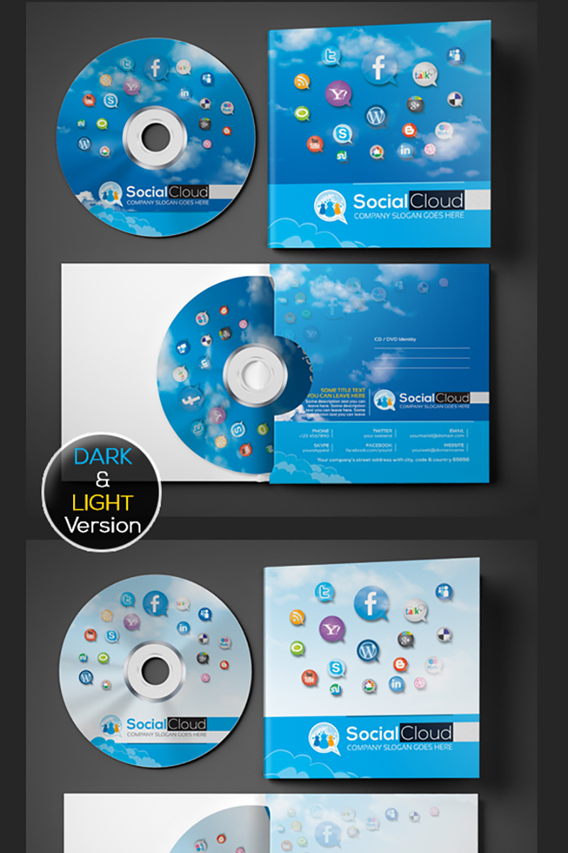Social Media CD and DVD Case | Cover Design PSD Template