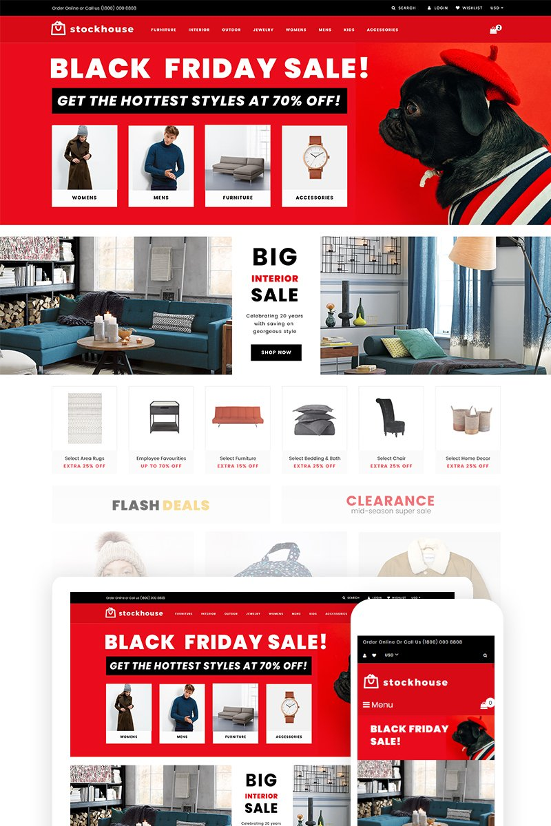 """Stockhouse - Wholesale Store"" Responsive Shopify Thema №74540"