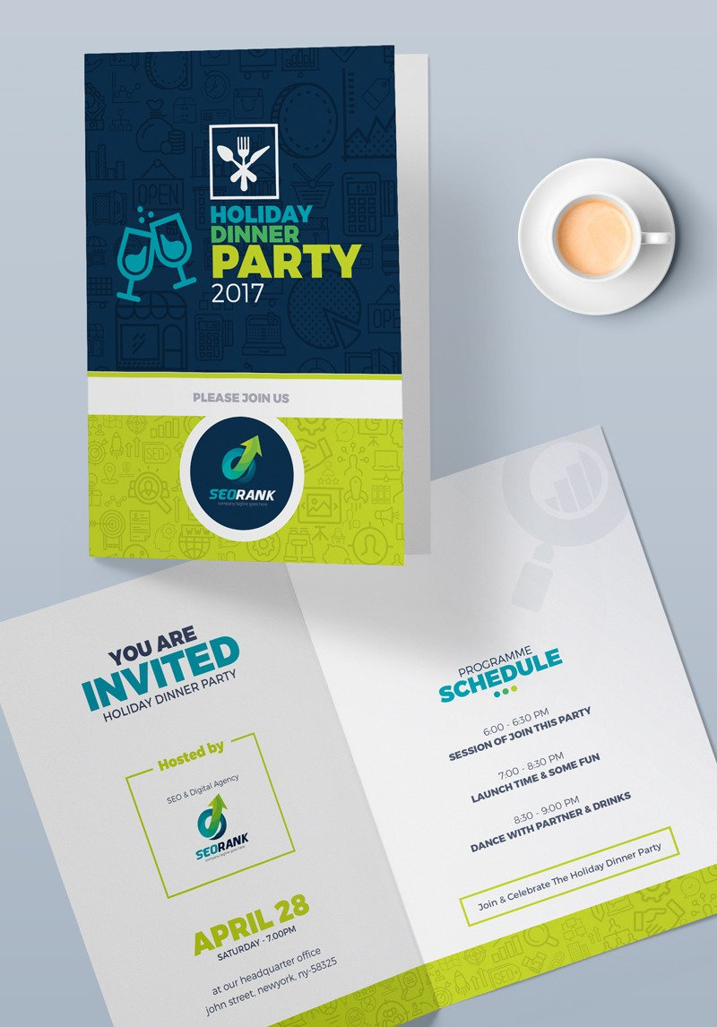 Szablon Psd Invitation Card For Holiday Dinner Party 74591