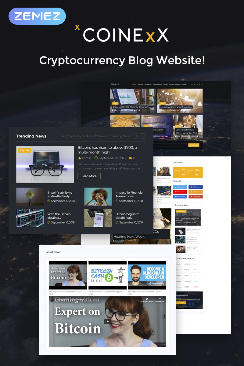 "WordPress Theme namens ""Capitex - Bitcoin Blog Elementor"" #74548 - Screenshot"