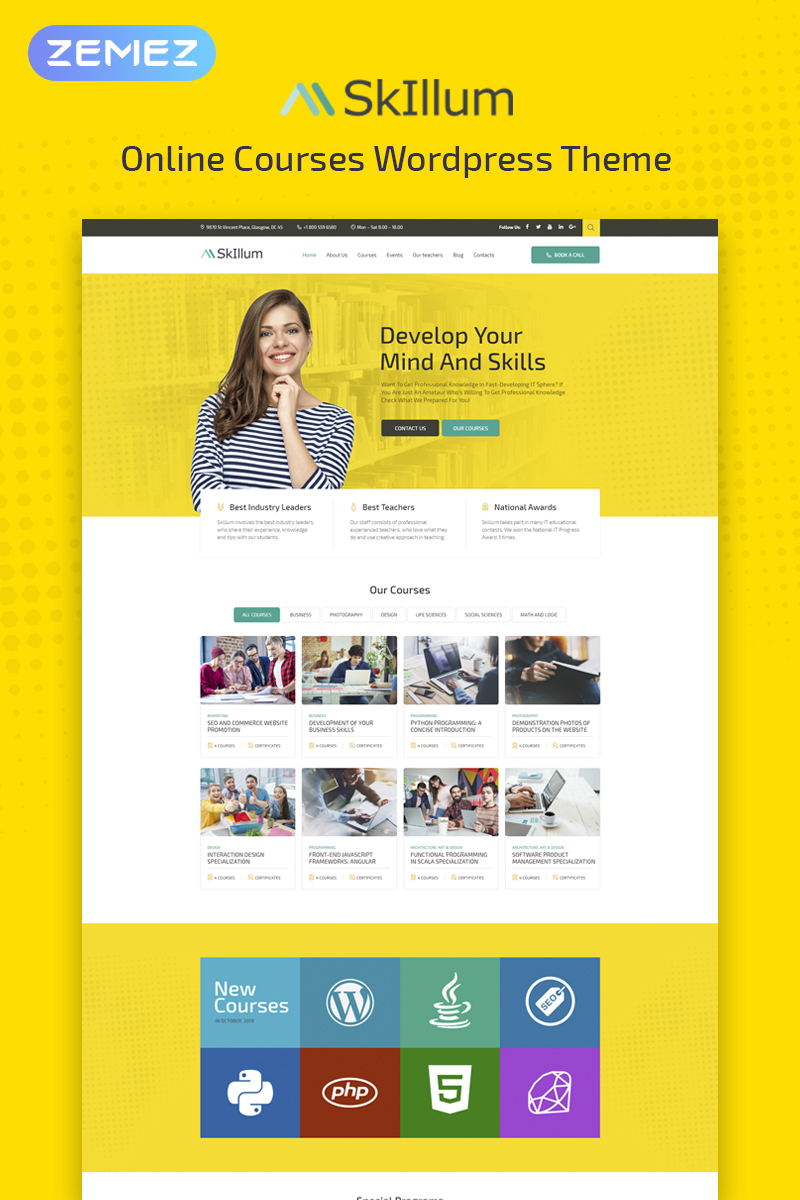 "WordPress Theme namens ""SkIllum - Online Courses Elementor"" #74503"