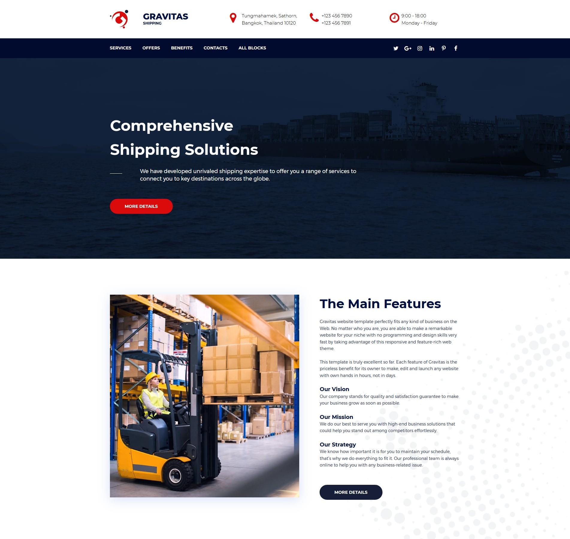 Website Template #74689 Shipping Transportation Logistics