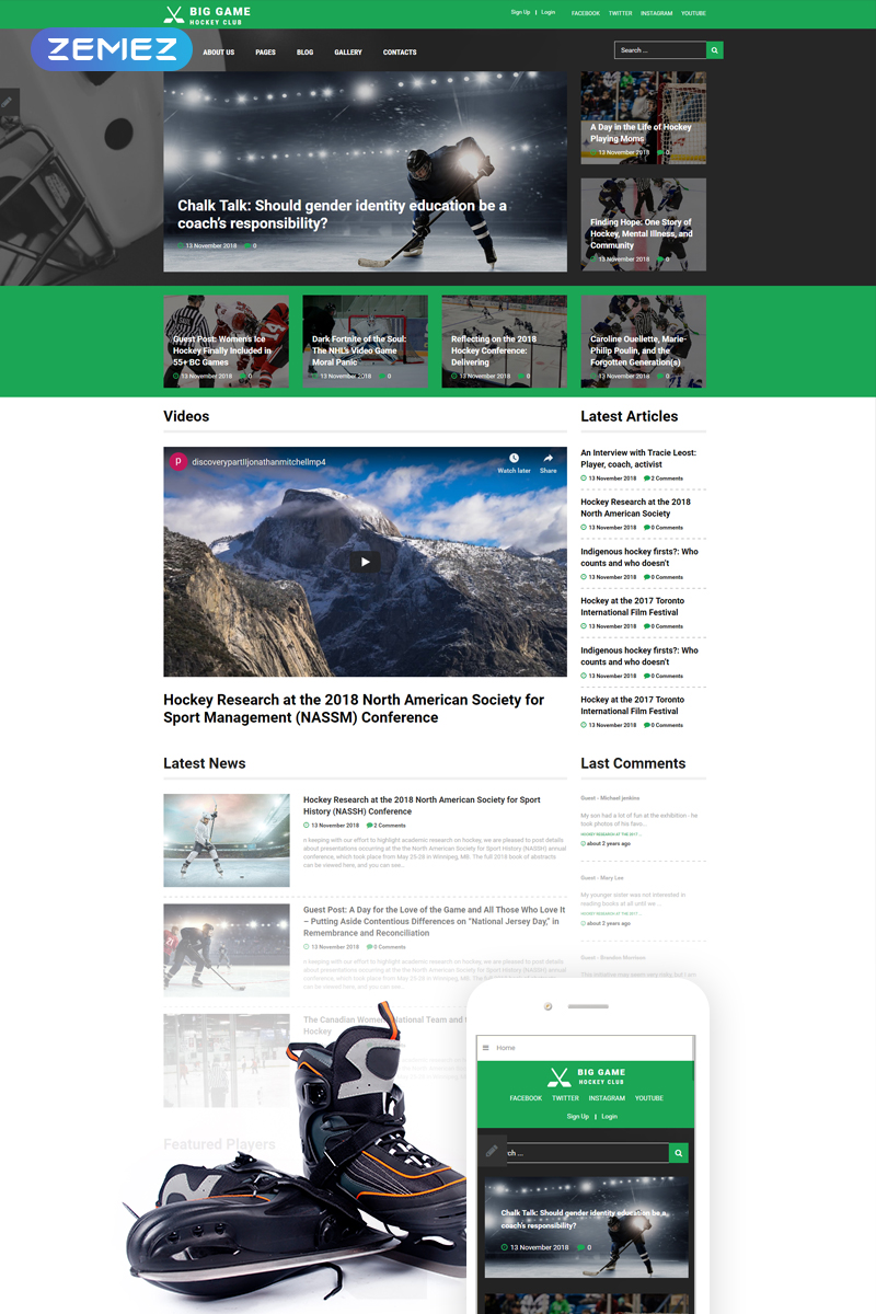 """Big Game - Hockey Team Website Ready-To-Use"" 响应式Joomla模板 #74636 - 截图"