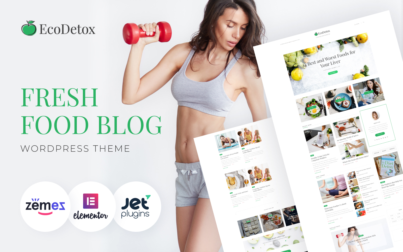 """EcoDex - Fresh Food Blog Website For Healthy Lifestyle"" - адаптивний WordPress шаблон №74693"