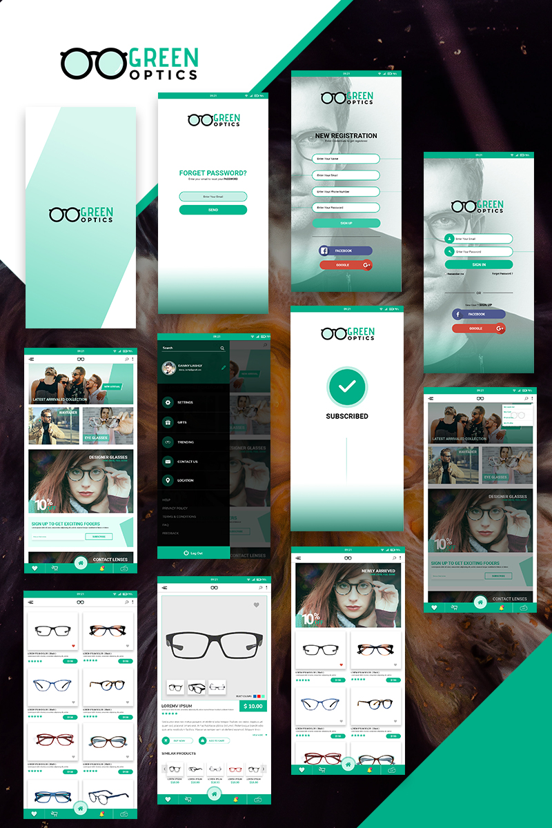"""Elementos De IU """"GreenOptics - Specs Store App PSD"""" #74694 - captura de pantalla"""