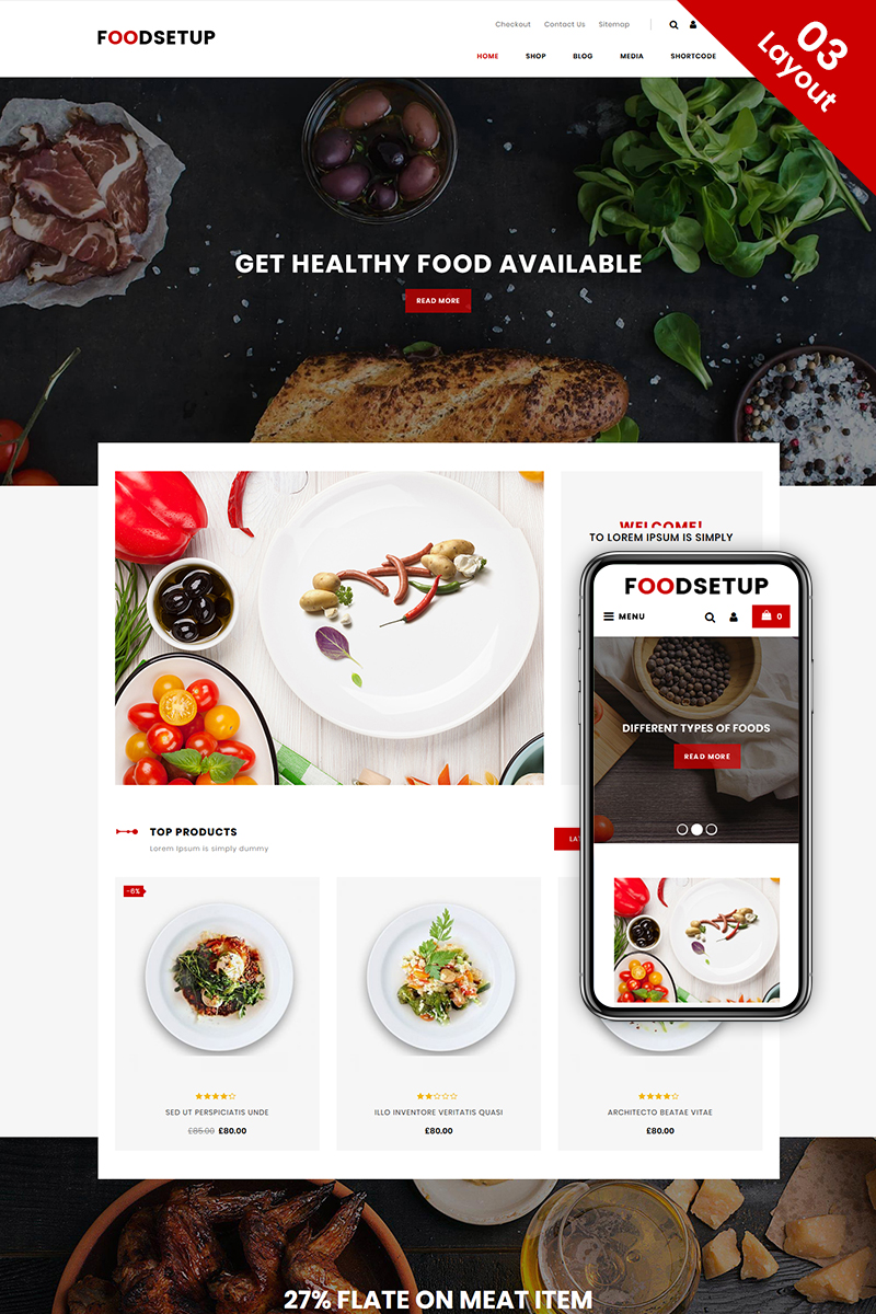 """FoodSetup - Food & Restaurant Store"" thème WooCommerce adaptatif #74683"