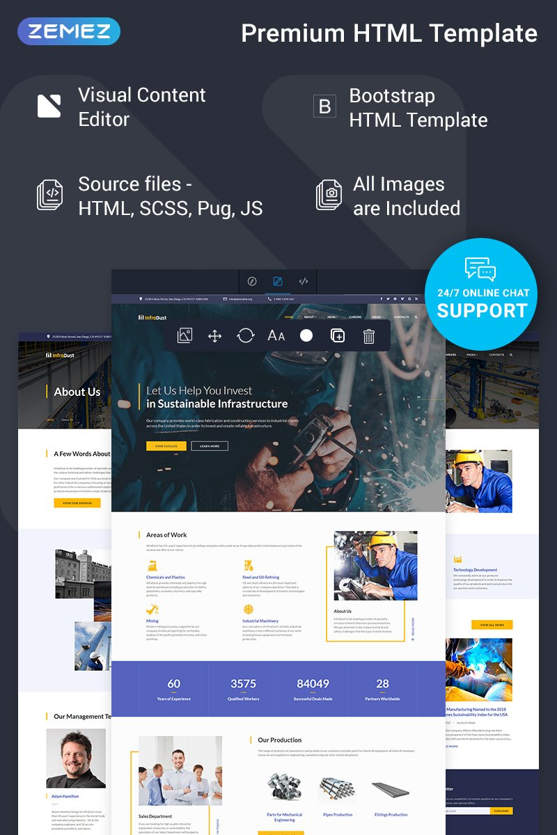 InfraDust - Industrial Ready-to-Use Website Template