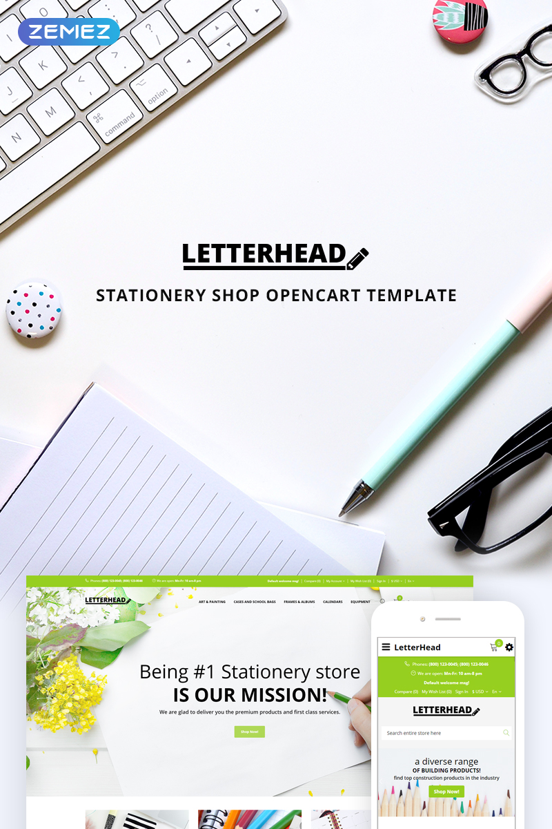 """""""Letterhead - Stationery"""" Responsive OpenCart Template №74626"""