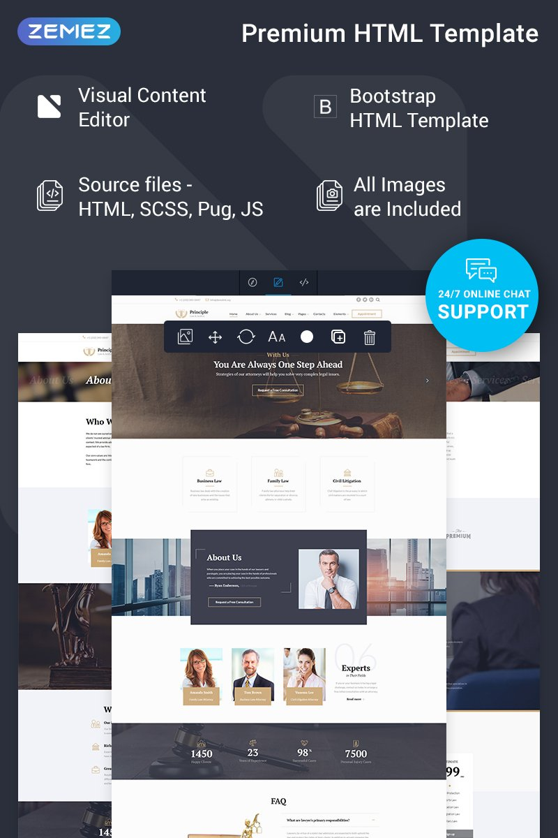 """""""Principle - Law Ready-to-Use"""" Responsive Website template №74635"""