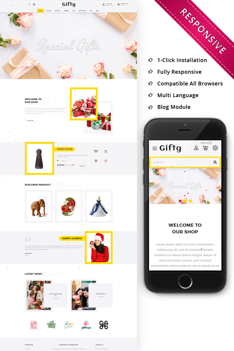 Responsive Giftg - The Gift Shop Responsive Opencart #74680