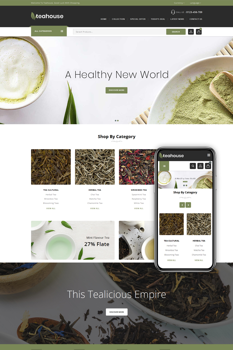 "Tema PrestaShop Responsive #74691 ""Teahouse - Multipurpose Store"" - screenshot"