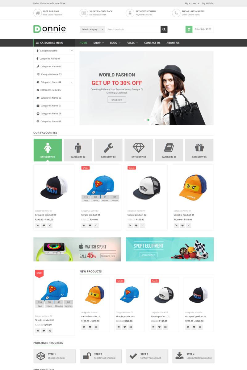 "Tema WooCommerce ""Donnie - Multipurpose"" #74623 - captura de pantalla"