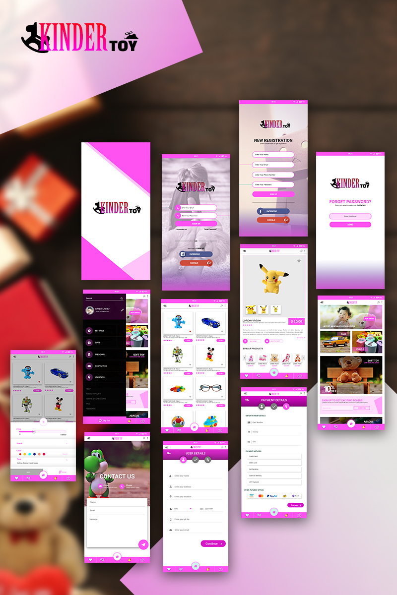 "Template Elementi UI #74695 ""KinderToy - Toy Store App PSD"""