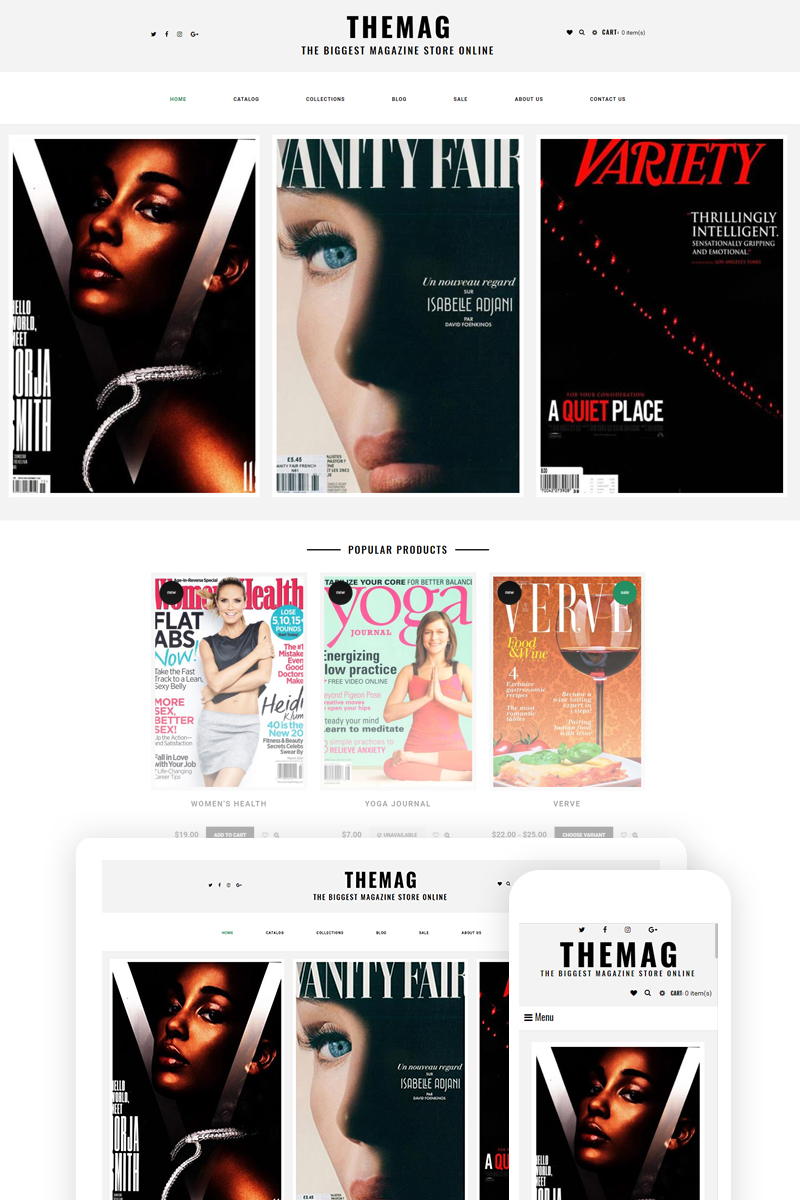 """Themag - Magazine Store Ready-To-Use"" Responsive Shopify Thema №74624 - screenshot"