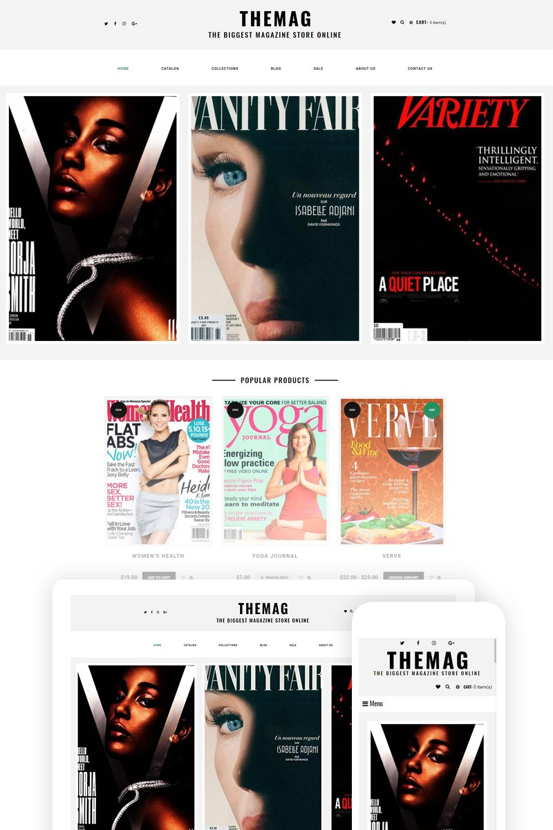 """Themag - Magazine Store Ready-To-Use"" thème Shopify adaptatif #74624 - screenshot"