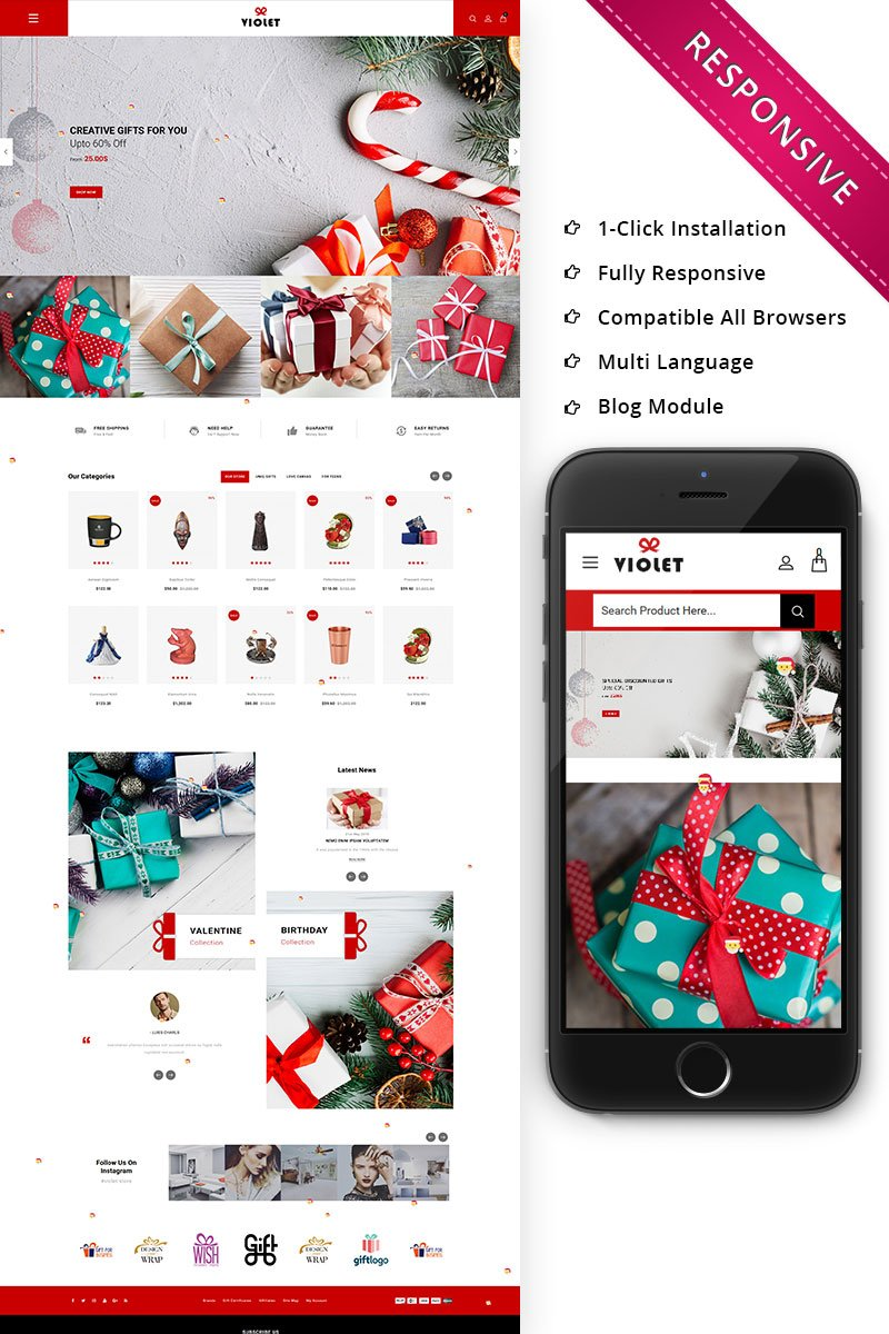 Violet - The Gift Store Responsive OpenCart Template - screenshot