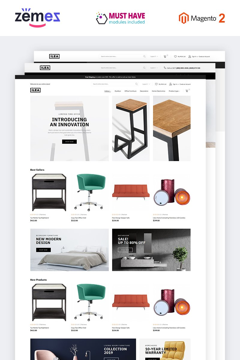 """ILEA - Decor & Furniture"" - Magento шаблон №74712"