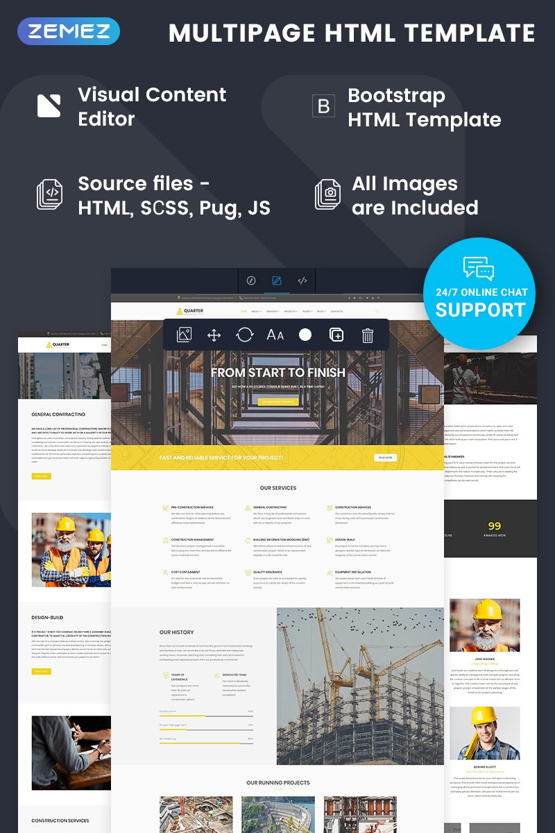 """Quarter - Construction Ready-to-Use"" Responsive Website template №74790"