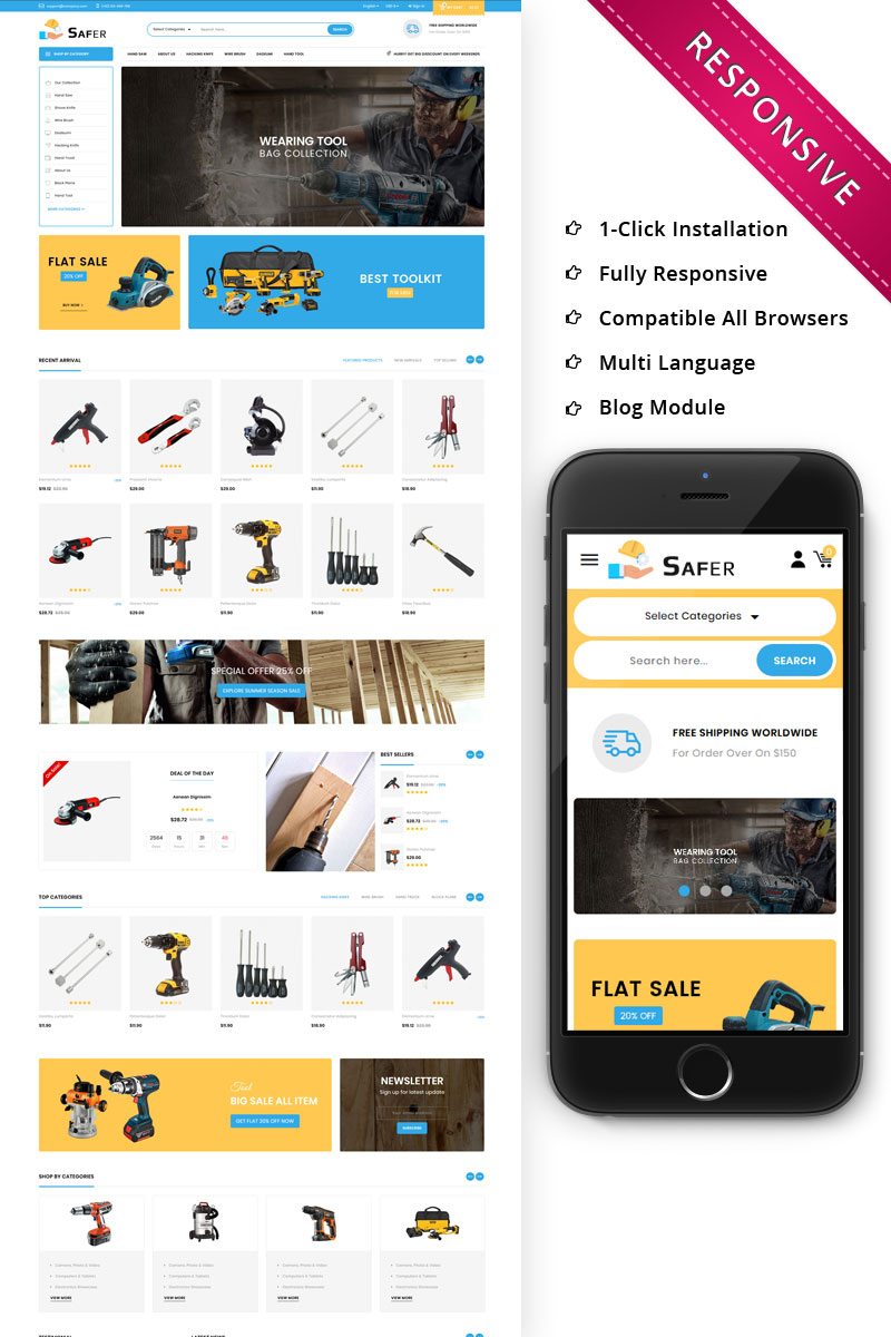 """Safer - The Tool Store Responsive"" - bootstrap PrestaShop шаблон №74753"