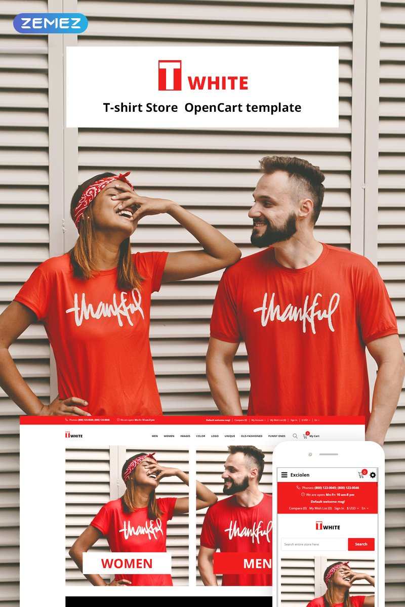 Twhite - T-Shirt Store Ready-To-Use OpenCart Template