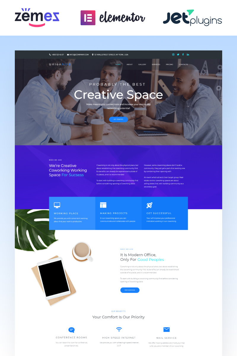 """UnionHUB - Coworking Space Elementor"" Responsive WordPress thema №74789"