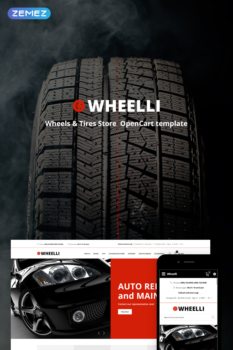 """Wheelli - Wheels & Tires Shop Ready-To-Use"" thème OpenCart adaptatif #74711"