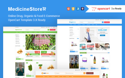 Medicine Store Online Drug, Organic & Food E-Commerce OpenCart Template