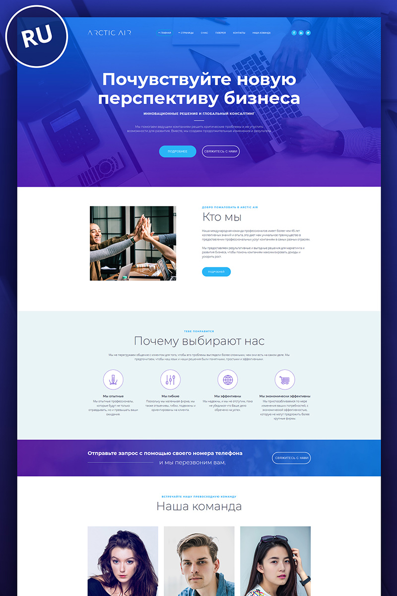 """""""Arctic - Consulting company"""" Responsive Ru Moto CMS 3 Template №74851"""