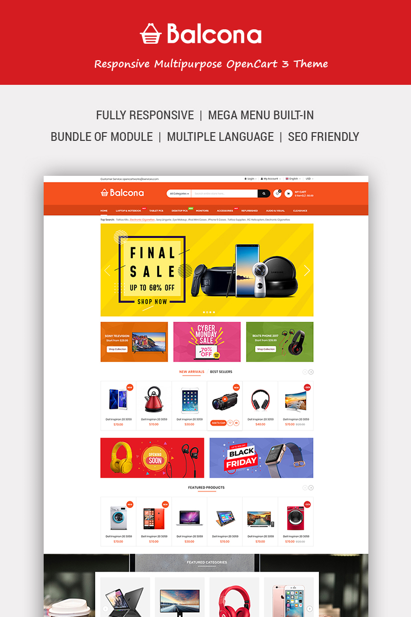 """""""Balcona - The Multipurpose Store with Advanced Admin"""" Responsive OpenCart Template №74833"""