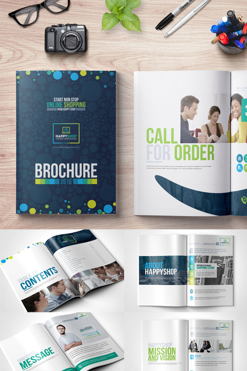 Bi-Fold Brochure  for E-Commerce and Online Shop Corporate Identity Template