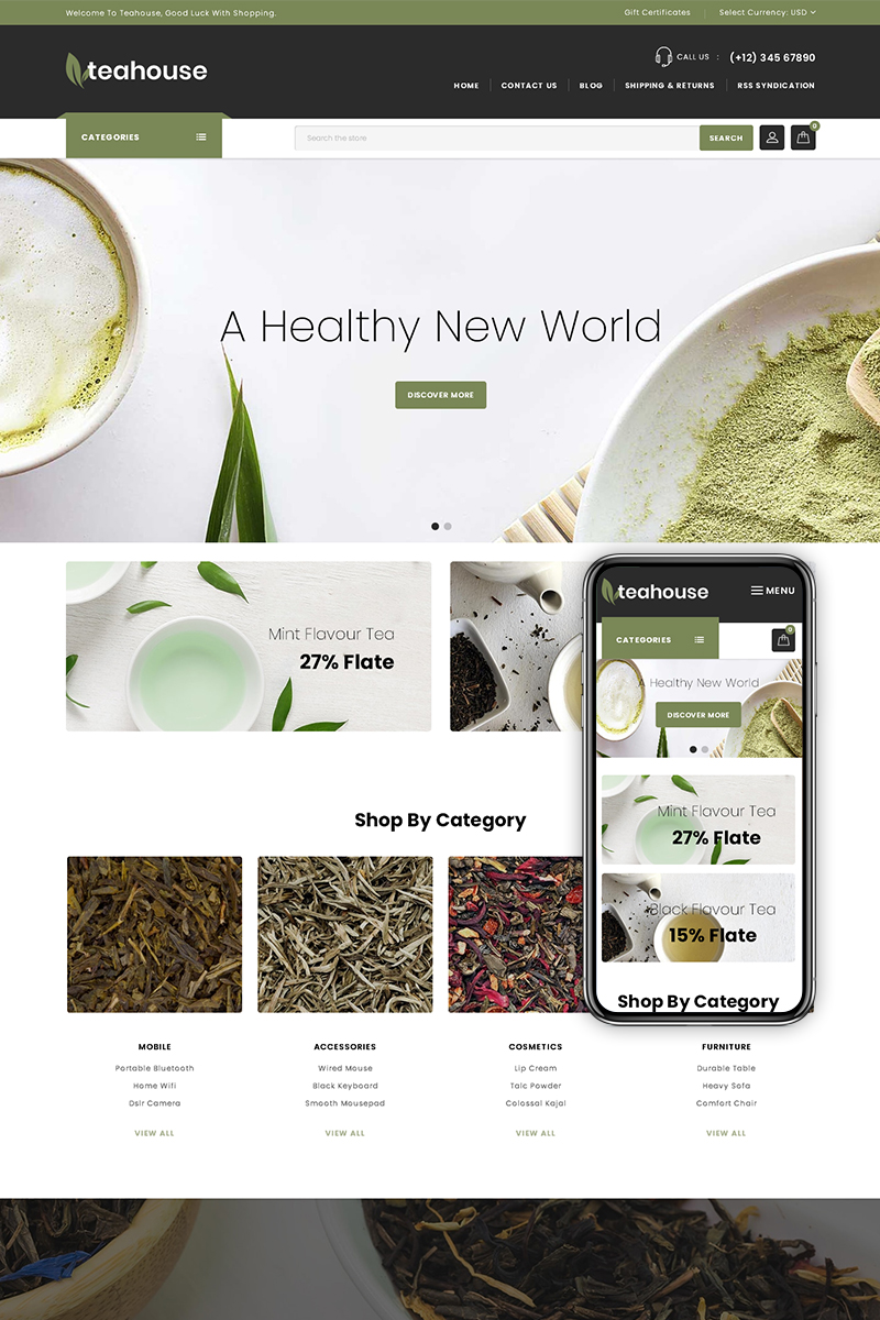 "BigCommerce Theme ""Teahouse - Multipurpose Store"" #74899"