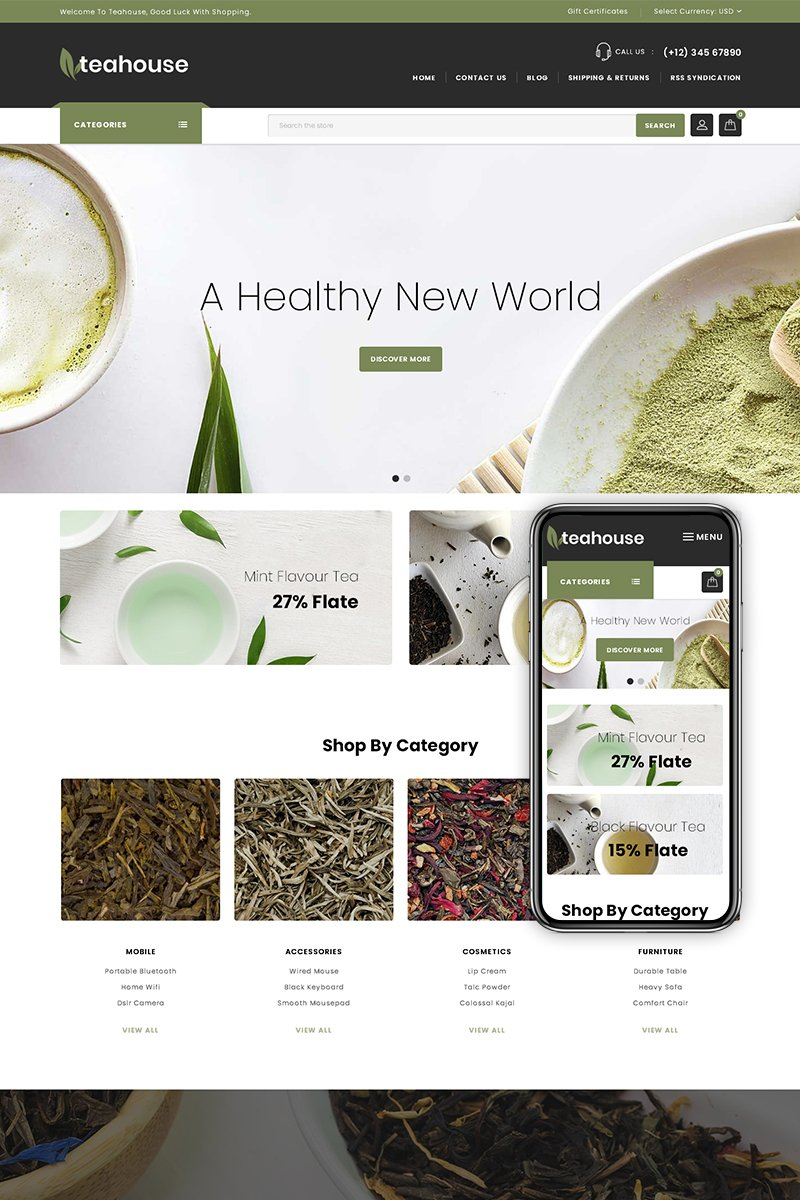 "BigCommerce Theme ""Teahouse - Multipurpose Store"" #74899 - captura de pantalla"