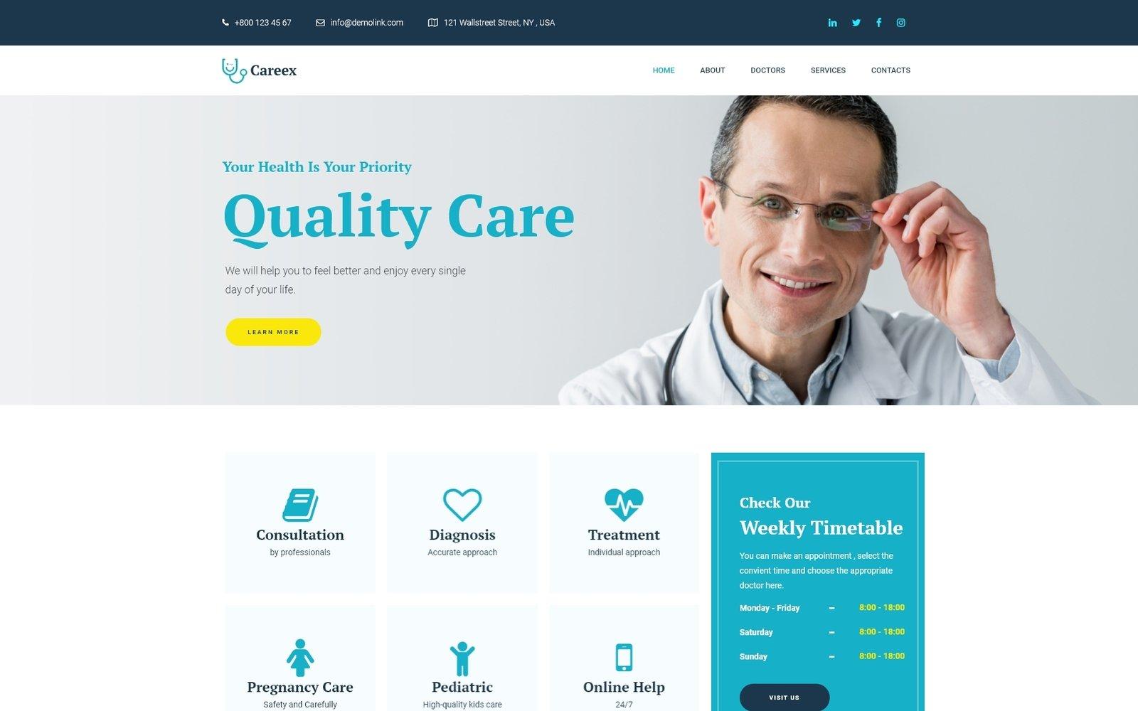 """Careex - Family Doctor Elementor"" Responsive WordPress thema №74850"