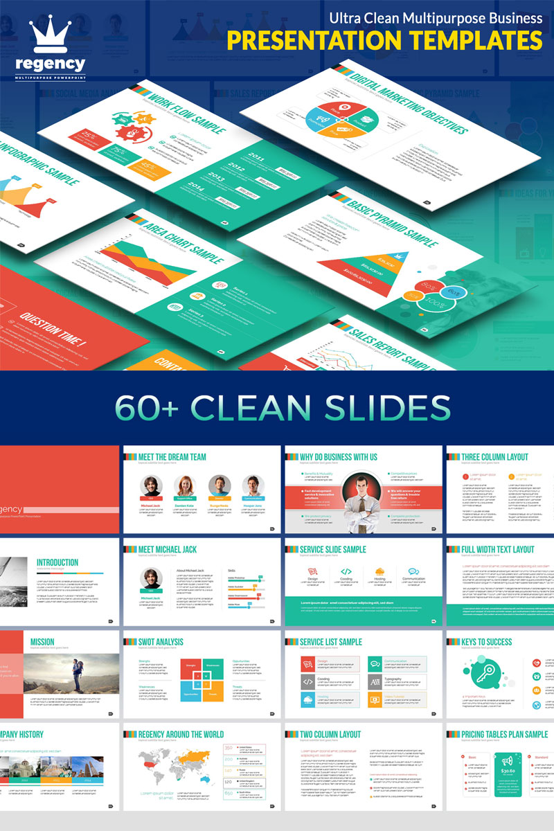 Clean Business Presentation Template PowerPoint №74884 - captura de tela