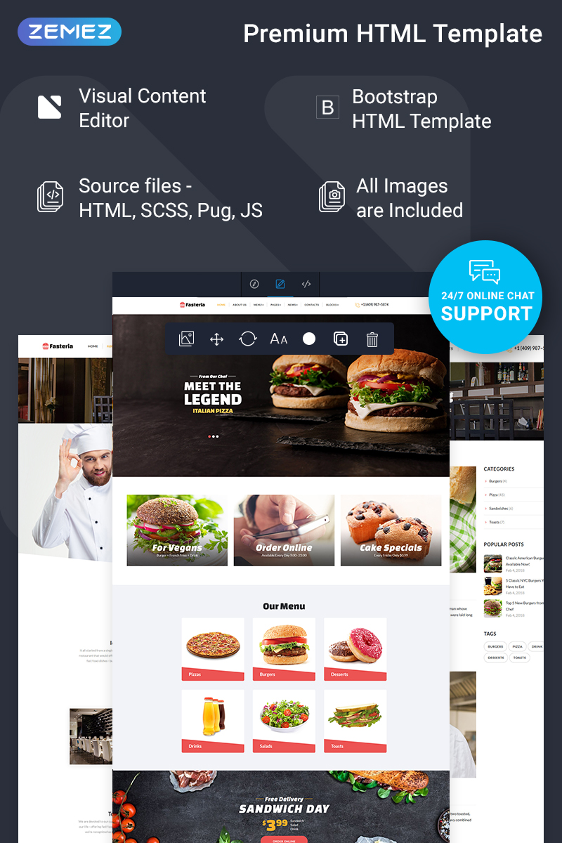 """""""Fasteria - Restaurant Ready-to-Use"""" Responsive Website template №74835"""