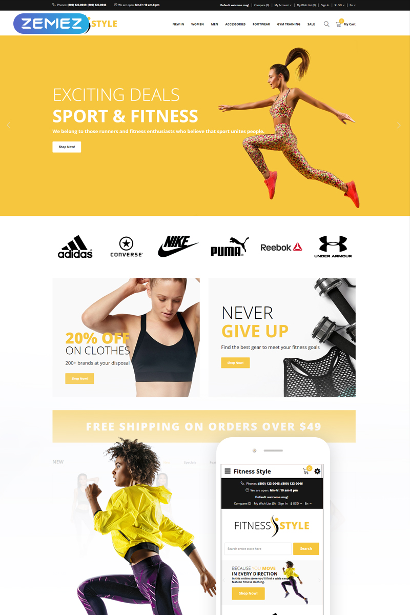 """Fitness Style - Sports Fashion"" Responsive OpenCart Template №74853"