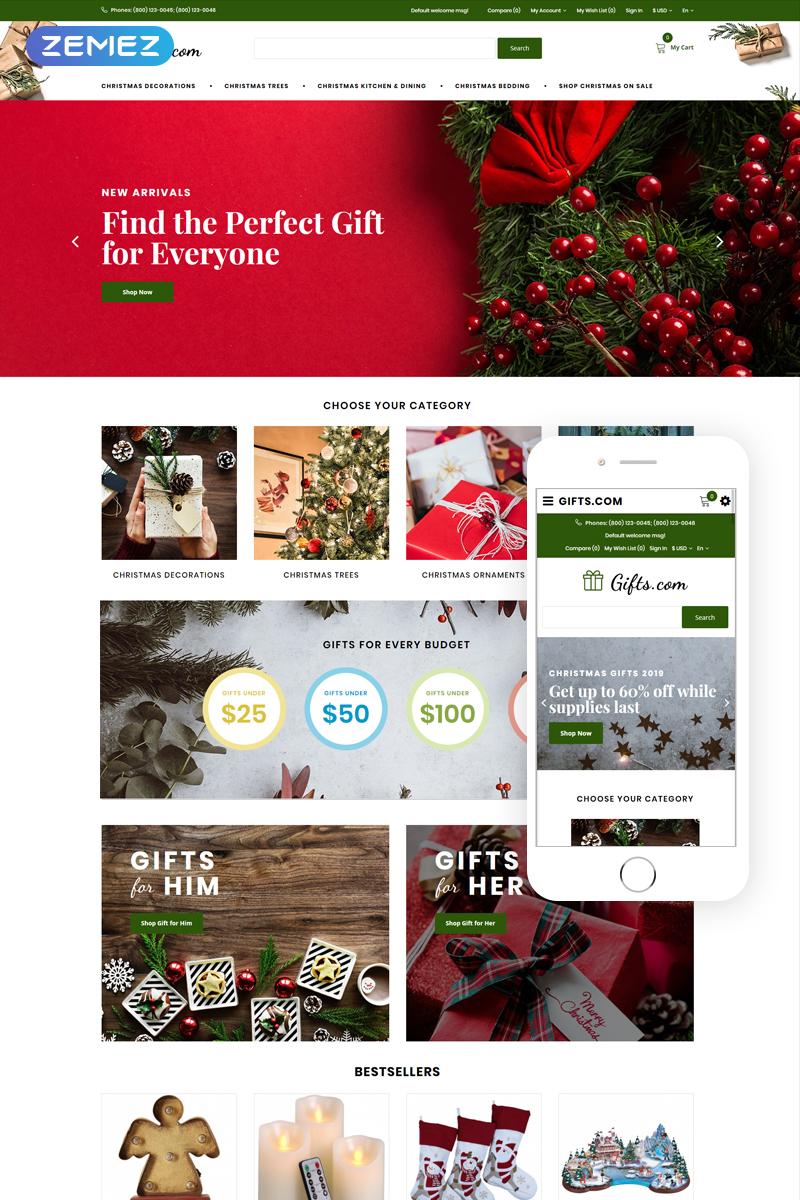 """Gifts.com - Christmas Presents Shop"" Responsive OpenCart Template №74854"