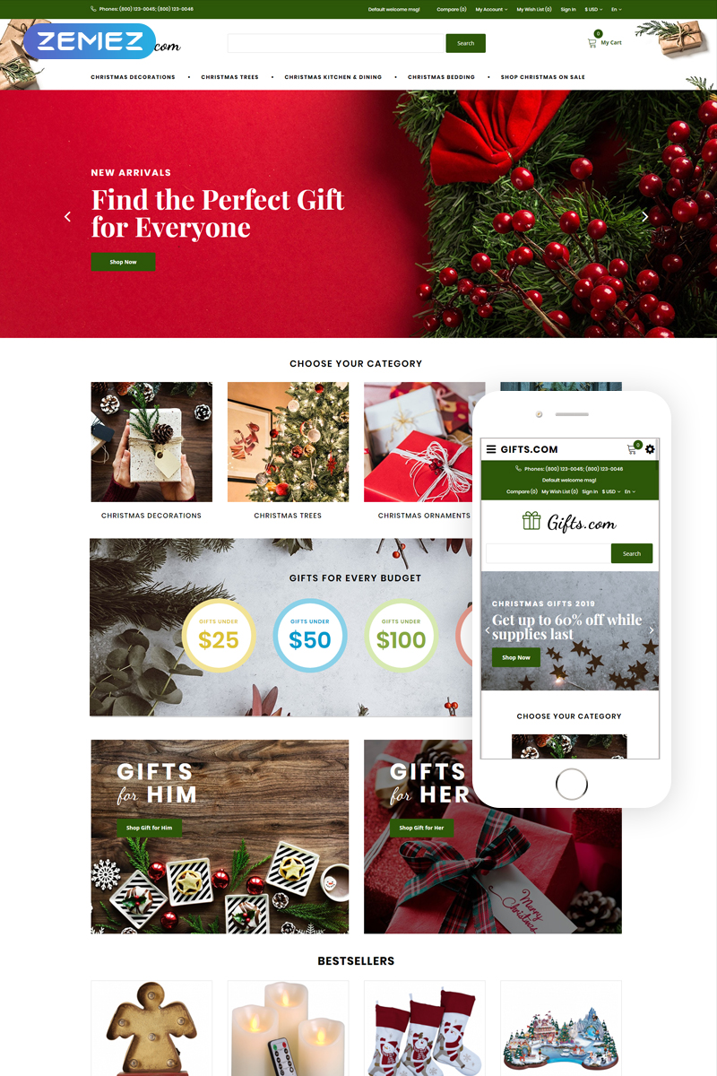 Gifts.com - Christmas Presents Shop Template OpenCart №74854