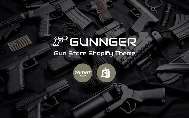 """Gunnger - Gun Store"" 响应式Shopify模板 #74860"