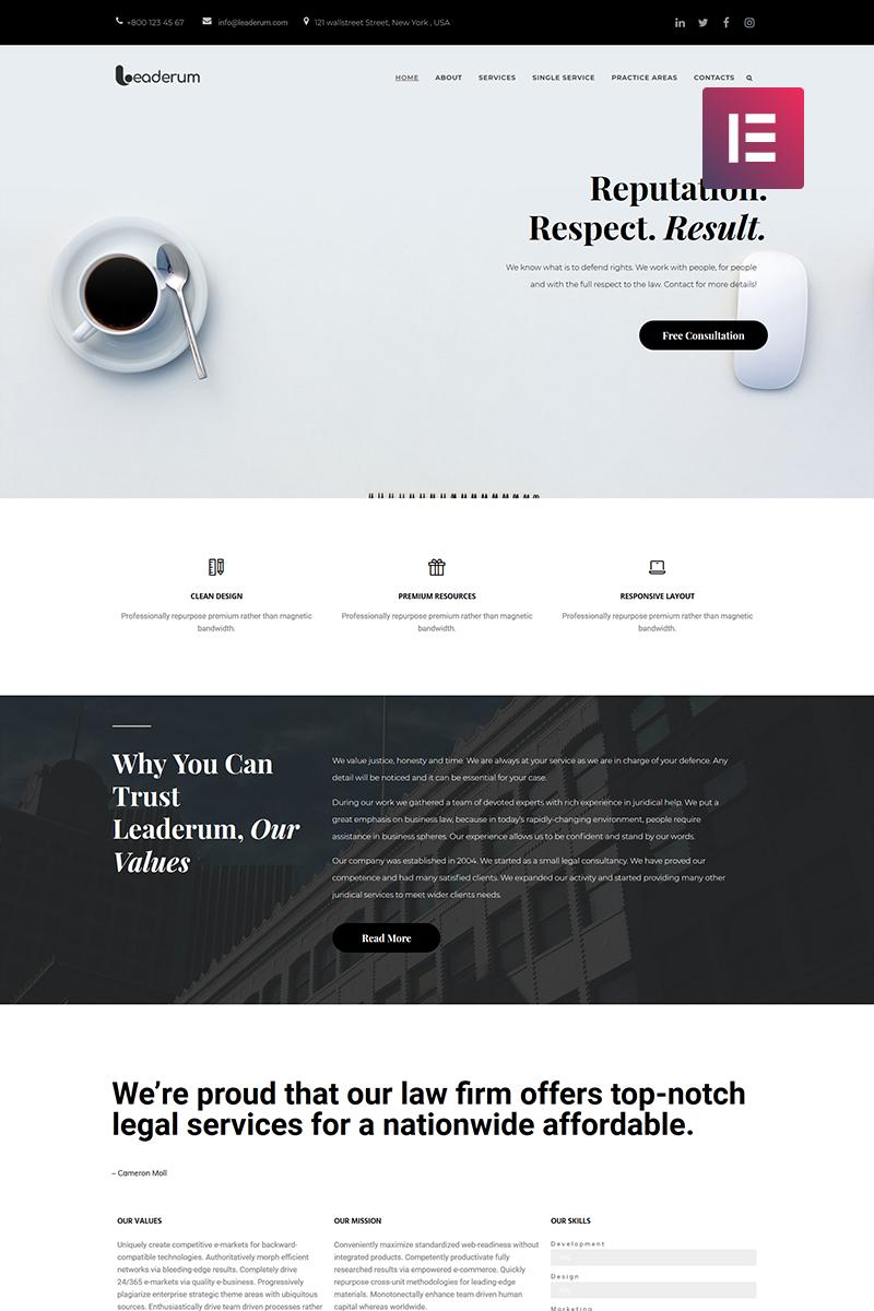 Leaderum - Minimal Business Elementor WordPress Theme