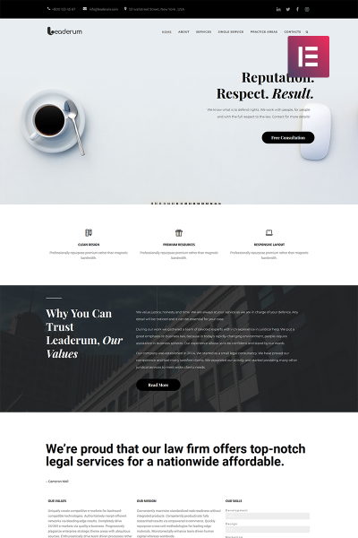 Leaderum - Minimal Business Elementor